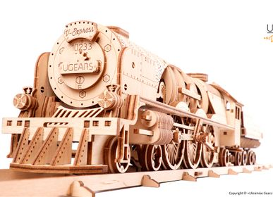 Gifts - UGEARS Mechanical Models: V-EXPRESS STEAM TRAIN with TENDER - UGEARS