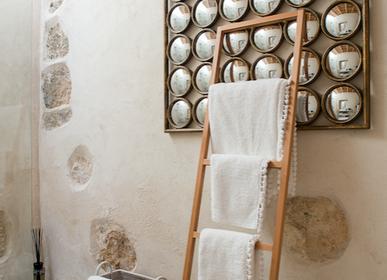 Autres linges de bain - Linge de bain en coton blanc avec pompons blancs - MIA ZIA