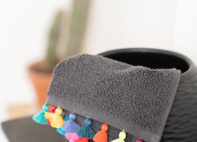 Other bath linens - Dark grey towels with pompons and embroideries - MIA ZIA