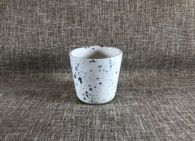Mugs - Blue speckled white stoneware coffee cup - LES POTERIES DE SWANE