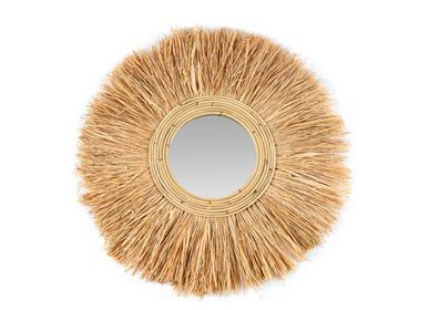 Mirrors - HONOLULU RATTAN/RAFIA WALL MIRROR Ø85 AX21561 - ANDREA HOUSE