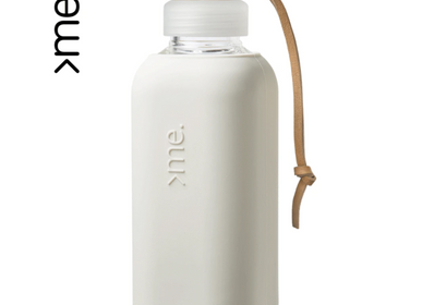Gifts - REUSABLE GLASS BOTTLE WHITE DOVE (600ml)  SQUIREME. Y1 SUSTAINABLE - SQUIREME.