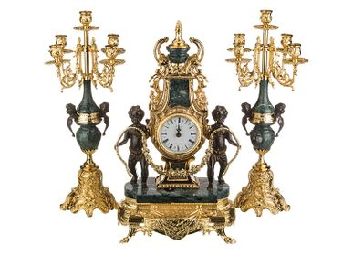 Clocks - art. 412/... Table clocks with candleholder, marble and bronze  - OLYMPUS BRASS