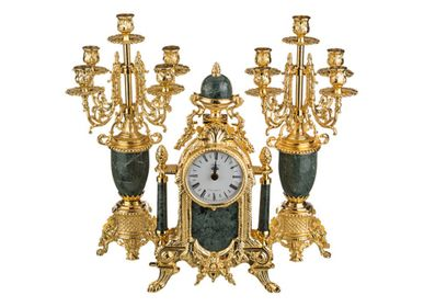 Clocks - art. 425/449 table clock with chandlerhoder with marble/porcelain - OLYMPUS BRASS