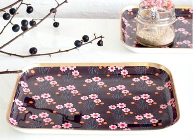Trays - Tray Square L Brown Flower - NOÏ