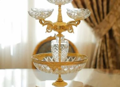 Vases - FRUIT BOWL, vase in crystal and bronze plated - OLYMPUS BRASS