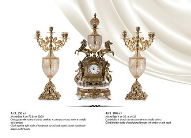 Clocks - TABLE CLOCK 1800s style in bronze plated, crystal and marble. - OLYMPUS BRASS