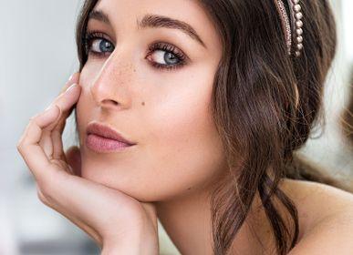 Accessoires cheveux - Serre-tête fin en cuir & cristaux  Swarovski® ALIZÉE  - VALÉRIE VALENTINE