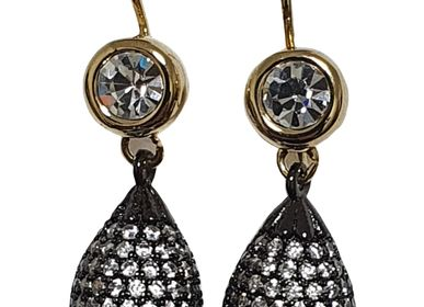 Jewelry - Drop-shaped earring, burnished plated with zircon pave and leverback - L'OFFICIEL SRL