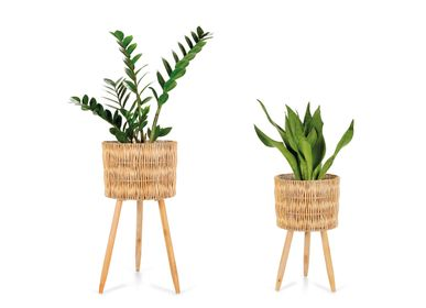 Garden accessories - SET 2 WICKER PLANTERS Ø29X55 AX21541 - ANDREA HOUSE