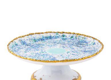 Assiettes au quotidien - Cakestand Coupé Craquelé Edge Bleu Marbre - CORALLA MAIURI