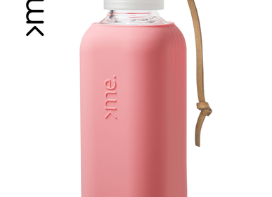 Travel accessories - HANDMADE GLASS BOTTLE SQUIREME. Y1 CANTALOUPE SILICONE SLEEVE SUSTAINABLE REUSABLE  - SQUIREME.