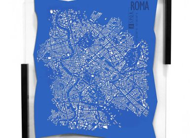 Customizable objects - Rome framed leather map - Wall decoration - FRANK&FRANK