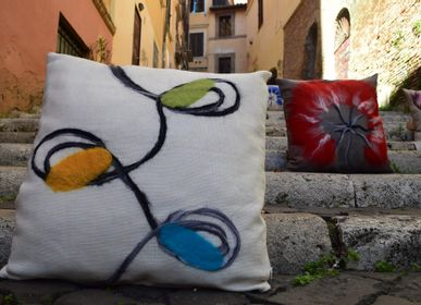 "Fabric cushions - Decorative cushion ""Eyes"" - ELENA KIHLMAN"