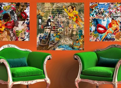 "Fabric cushions - ""INFINEDELIRIUM"" Collage Limited Edition - L'ATELIER D'ANGES HEUREUX"