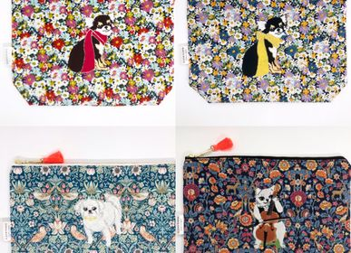 Clutches - Embroidered Liberty Print Fabric Pouch - Chihuahua, Maltese, Cello Cat - KEORA KEORA GOODS JP