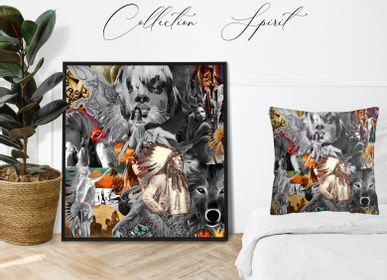 "Fabric cushions - CUSHION LIMITED PRINTS ""SPIRIT"" limited print - L'ATELIER D'ANGES HEUREUX"