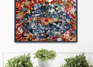 "Paintings - ART PRINT COLLAGE FRAMING ""KISS"" - L'ATELIER D'ANGES HEUREUX"