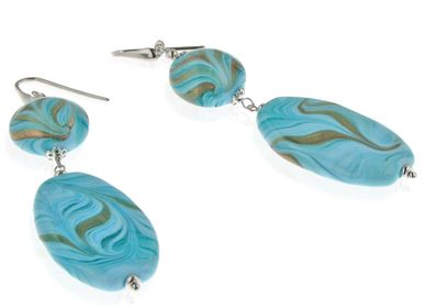 Jewelry - Murano glass earrings with Avventurina - LINEA ITALIA SRL