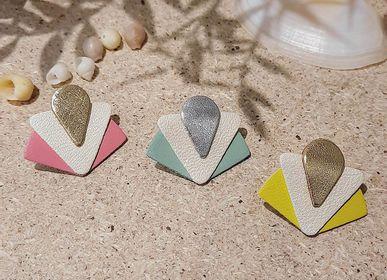 Bijoux - Puces d'oreilles ART DÉCO en cuir recyclé - NI UNE NI DEUX BIJOUX