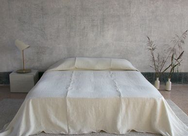 Comforters and pillows - Heavy Linen Bed Cover with Sewing - ONCE MILANO