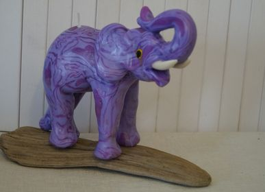 Decorative objects - PURPLE ELEPHANT CANDLE - KANDHELA