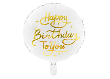 Decorative objects - Foil balloon Happy Birthday To You, 35cm, white - PARTYDECO