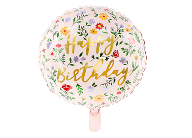 Design objects - Foil balloon Happy Birthday, 35cm, light pink - PARTYDECO