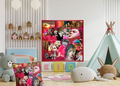 """Fabric cushions - """"Kids"""" Collage Limited Edition - L'ATELIER D'ANGES HEUREUX"""