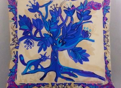 Coussinstextile - Tree of Life cushion ivory / turquoise - BACIO DEL MARINAIO