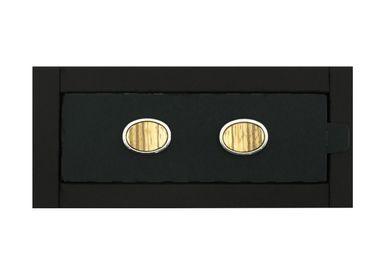 Bijoux - Pasha® Elliptical - Boutons de manchette - Unisex/Genre Sans Genre - Boutons de manchette Acier/Bois de Zebrano Accessoires inclus. - ABSOLU AROMATICS