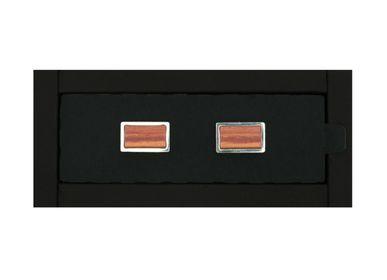 Bijoux - Pasha® Rectangular Boutons de Manchette Porte-Parfum Unisexe Sans Genre - Boutons de manchette Acier/Bois de Rose Accessoires inclus. - ABSOLU AROMATICS