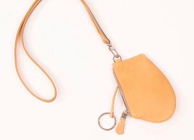 Pochettes - Zip Micro porte-clés et porte-monnaie en cuir de vachette naturel - MLS-MARIELAURENCESTEVIGNY