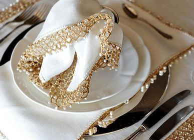 Table linen - Linen Napkins with Pearl - HOME COUTURE