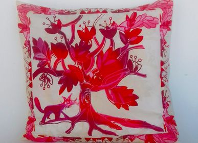 Coussinstextile - Tree of Life cushion ivory / ruby - BACIO DEL MARINAIO