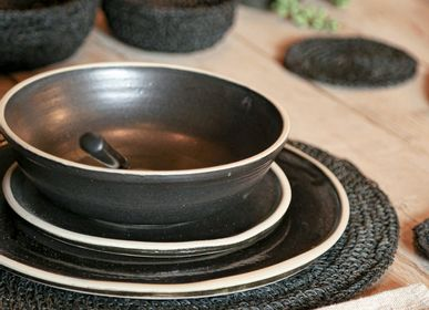 Assiettes de réception  - collection en gres artisanal noir - FIORIRA UN GIARDINO SRL