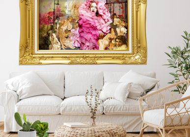"Fabric cushions - ""Rose"" Collage Limited Edition - L'ATELIER D'ANGES HEUREUX"