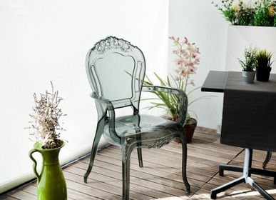 Chairs for hospitalities & contracts - Cribel Chimera, methacrylate chair, trasparent grey - CRIBEL