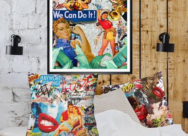 """Fabric cushions - """"BUZZ"""" Collage Limited Edition - L'ATELIER D'ANGES HEUREUX"""