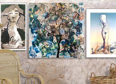 """Paintings - """"Sad"""" Original artwork collage - L'ATELIER D'ANGES HEUREUX"""