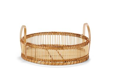 Decorative objects - BAMBOO TRAY W/HANDLES Ø35X15 MS21504 - ANDREA HOUSE