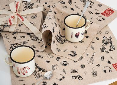 Sets de table - LOT de 2 sets de table ou toile en style ZEF - sérigraphié à la main - pur coton - WE LOVE ROCK