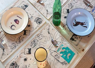 Sets de table - Lot de 4 torchons MILK imprimé à la main - pur coton - WE LOVE ROCK