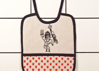 Repas pour enfant - Bavoir Rock'n'Roll - Little Devil - avec poche imprimée à la main - WE LOVE ROCK