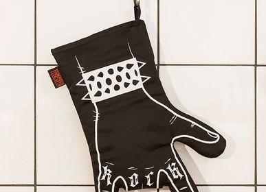 Ustensiles de cuisine - Gant de four Rock'n'roll NOIR BBQ imprimé à la main - gant de four - cornes main - main droite - WE LOVE ROCK