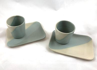 Platter and bowls - Stoneware tray for Coffee cup - LES POTERIES DE SWANE