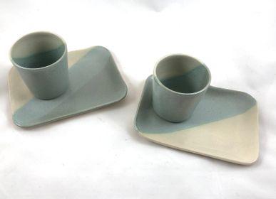 Plats et saladiers - Plateau en grès pour tasse à café - LES POTERIES DE SWANE