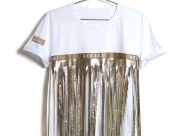 Prêt-à-porter - FringeTee Or, T-shirt avec frange - RECLS ®