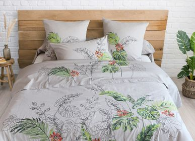 Bed linens - Cotton percale embroidered bed linen Amazonie - TRADITION DES VOSGES