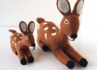 Christmas table settings - Biche and its little fawn felt, children's room decoration - COCOON PARIS